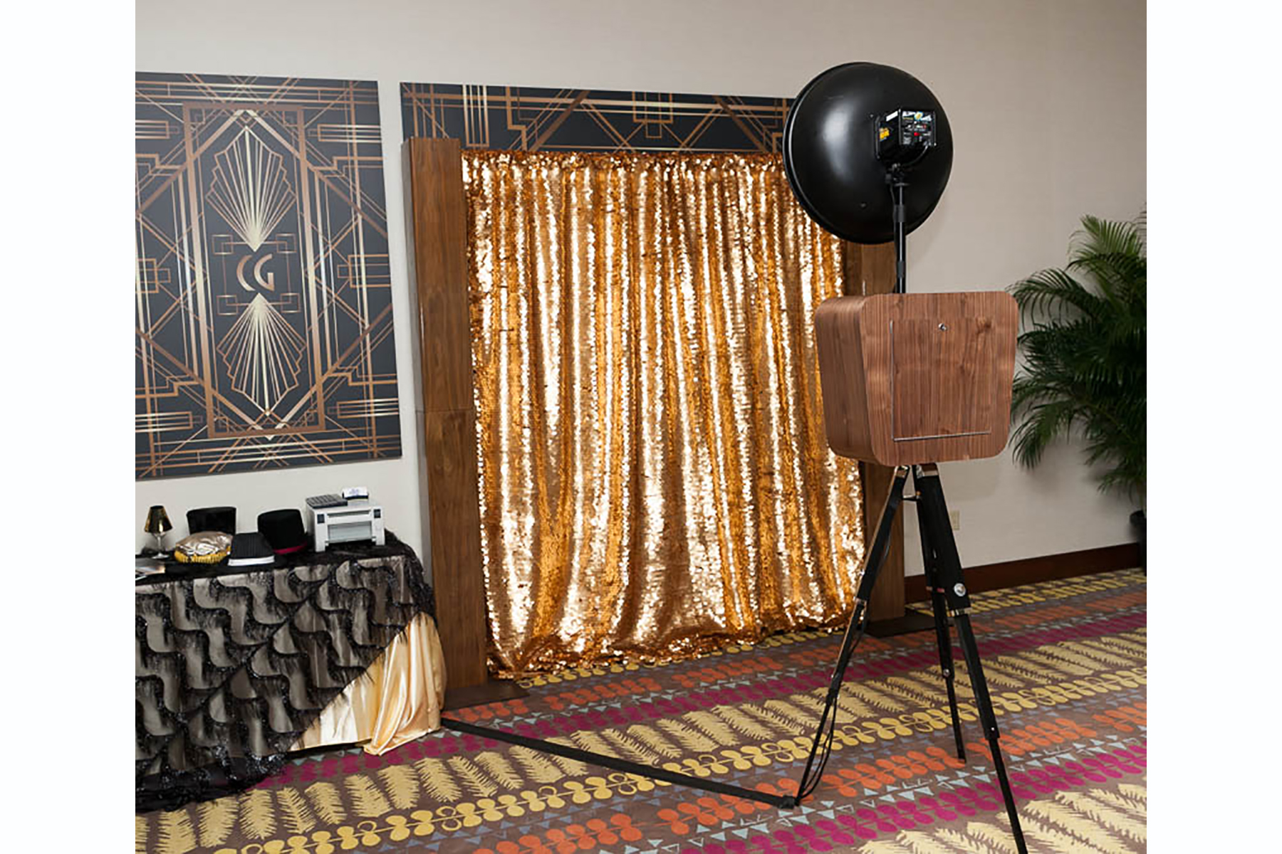 Vintage Walnut Open Air Photo Kiosk with Gold Sequins and Walnut Columns